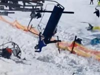 תאונה באתר סקי, רכבל/ צילום: מתוך הוידאו