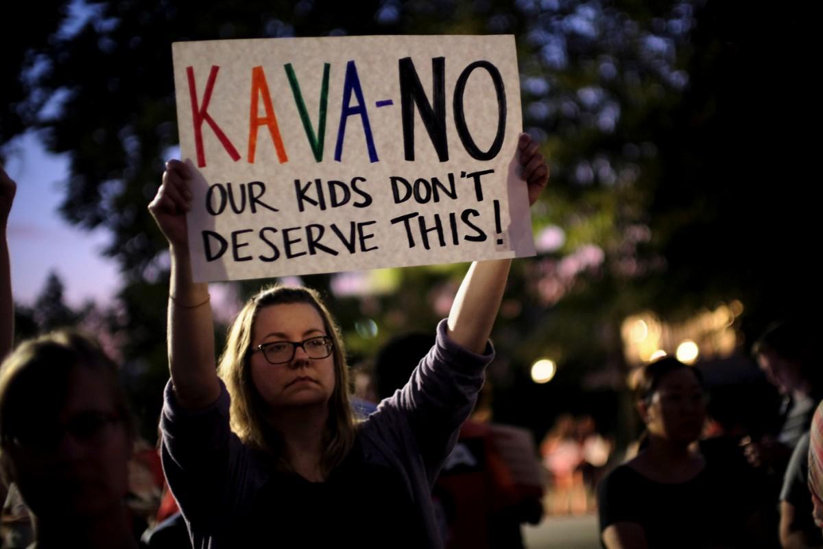 המחאה נגד מינוי ברט קוואנו / צילום: רויטרס