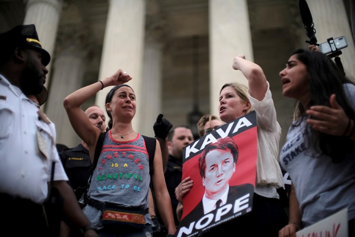 מחאה נגיד מינוי ברט קוואנו / צילום: רויטרס
