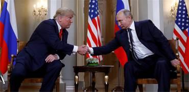 טראמפ ופוטין מפגישתם אמש / צילום: קווין לאמרק, רויטרס