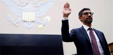 """מנכ""""ל גוגל סונדר פיצ'אי מעיד בקונגרס האמריקאי / צילום: Jim Young, גלובס"""