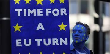 מפגין נגד ברקזיט בצעדה היום בלונדון / צילום: רויטרס