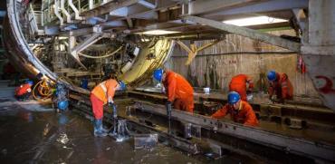 """מכונת הכרייה TBM של הרכבת הקלה /  צילום: נת""""ע"""