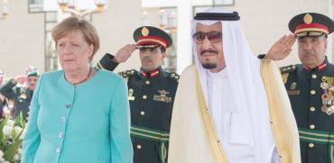 אנגלה מרקל והמלך הסעודי סלמאן בריאד/ צילום:רויטרס