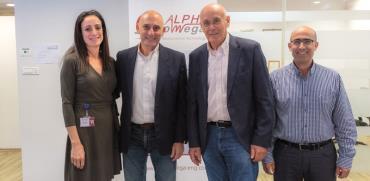 אבנר לושי ושוקי גלייטמן מקרן GIBF  מייסדי אלפא אומגא עימד ורים יונס/ צילום: ואסים כארם