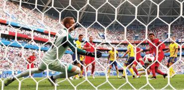 המשחק בין נבחרות אנגליה ושבדיה במונדיאל ברוסיה./ צילום: רויטרס