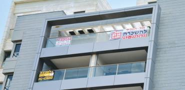 שלטי השכרה ומכירה בבניין בחדרה  / צילום:  תמר מצפי
