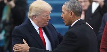 הנשיא דולנד טראמפ והנשיא ברק אובמה בטקס מינויו של טראמפ לנשיא בינואר 2016 / צילום: רויטרס