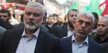 יחיא סנוואר, מנהיג חמאס ברצועת עזה, ואסמאעיל הנייה, ראש הלשכה המדינית של חמאס / צילום: Mohammed Sale