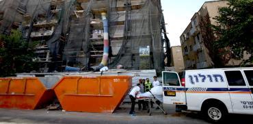 תאונה קטלנית באתר בנייה ברעננה / צילום: אלון רון