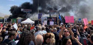 הפגנת תושבי אילת נגד סגירת שדה דב בתל אביב/ צילום: יחצ