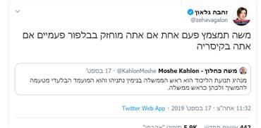 """זהבה גלאון מגיבה למשה כחלון. הציוץ עם הכי הרבה """"לייקים"""" בישראל / צילום: צילום מסך, גלובס"""