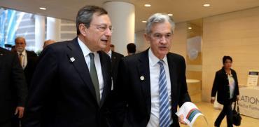 נגיד הפד ג'רום פאואל ונשיא ה־ECB מריו דראגי /צילום: רויטרס, Yuri Gripas
