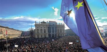 הפגנה בטורינו בעד פרויקט הרכבת. / צילום: רויטרס Massimo Pinca