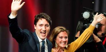 ראש ממשלת קנדה ג'סטין טרודו חוגג את ניצחונו בבחירות / צילום: רויטרס - Carlo Allegri
