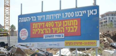 שלט חגיגי שהוצב במתחם גליל ים בהרצליה לפני כשנתיים./ צילום: איל יצהר