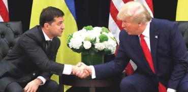 הנשיא טראמפ ונשיא אוקראינה ולודימיר זלנסקי/צילום: רויטרס