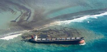 שמן מנועים זולג מתוך ספינה ליד חופי מאוריציוס. המדינה הכריזה על מצב חירום סביבתי / צילום: Eric Villars, Associated Press