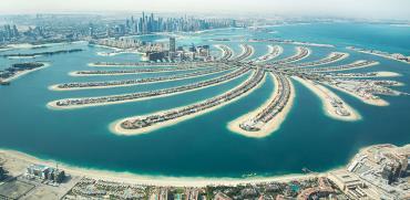 האי המלאכותי Palm Jumeirah, המרינה של דובאי ומחוז JBR, דובאי / צילום: shutterstock, שאטרסטוק