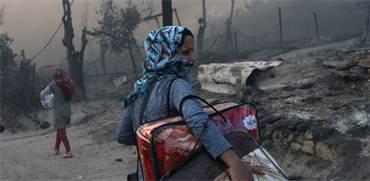 מחנה הפליטים עלה באש