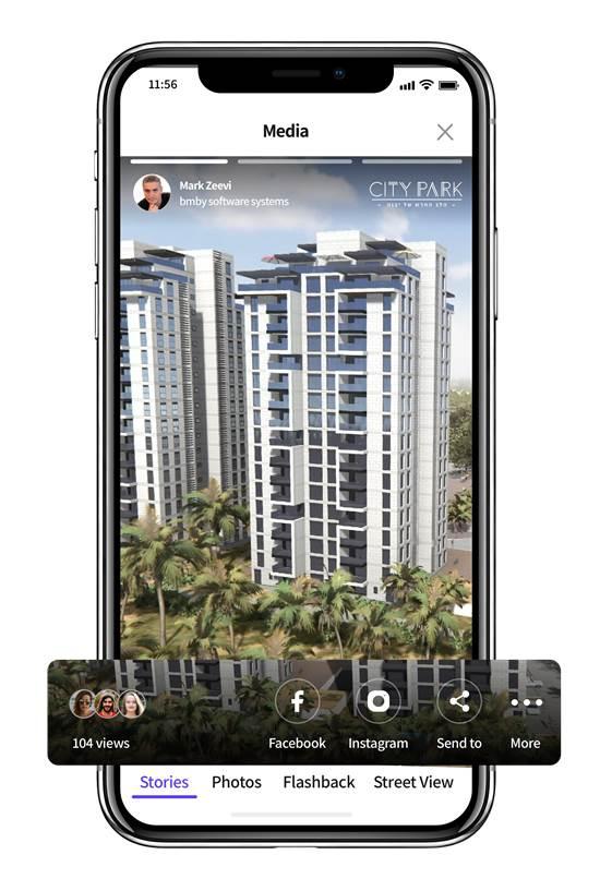 האפליקציה של DREAMS מאפשרת ללקוח להמשיך בסיור בדירה ובבניין גם בתום שיחת הווידאו / צילום: bmby