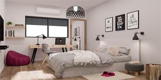 פרויקט המושבה. חדר השינה בדירות / הדמיה: Olin