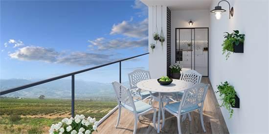 המרפסת בדירות החדשות. נוף לחרמון, לגולן ולעמק החולה / הדמיה: Olin