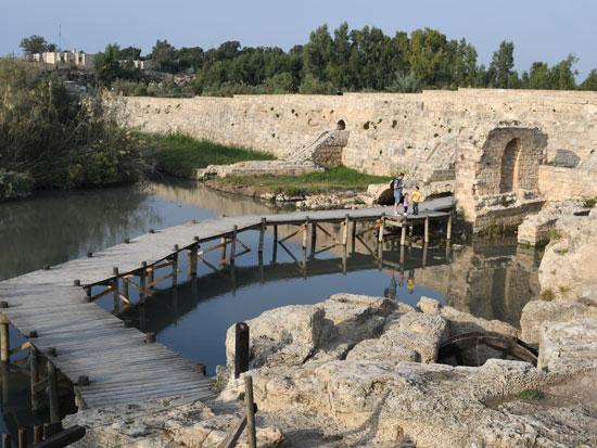 """השמורה בג'סר א־זרקא; גשרון עץ מודרני שנסמך על הסכר הרומי שהיה """"הגשר הכחול"""" ההיסטורי / צילום: יותם יעקבסון"""