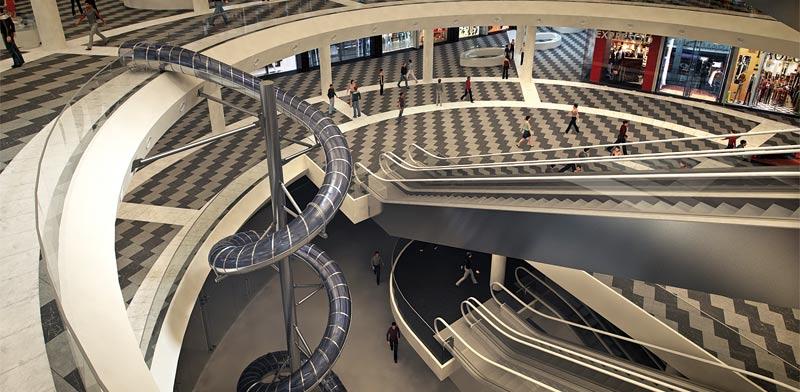 המגלשה במרכז המסחרי המתוכנן / הדמיה: יחצ