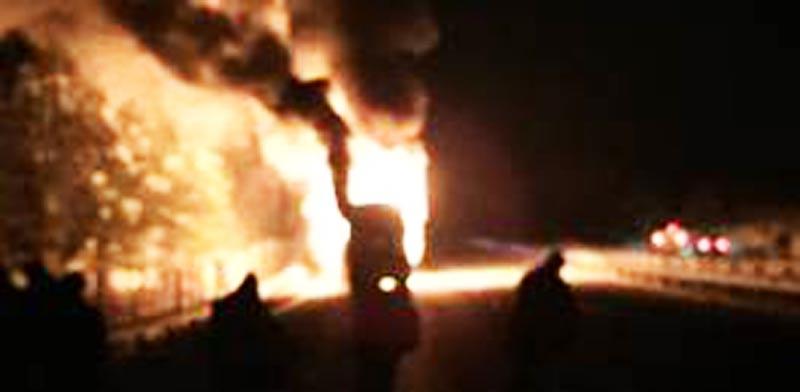אוטובוס בבולגריה עולה באש / צילום:אבי כהן