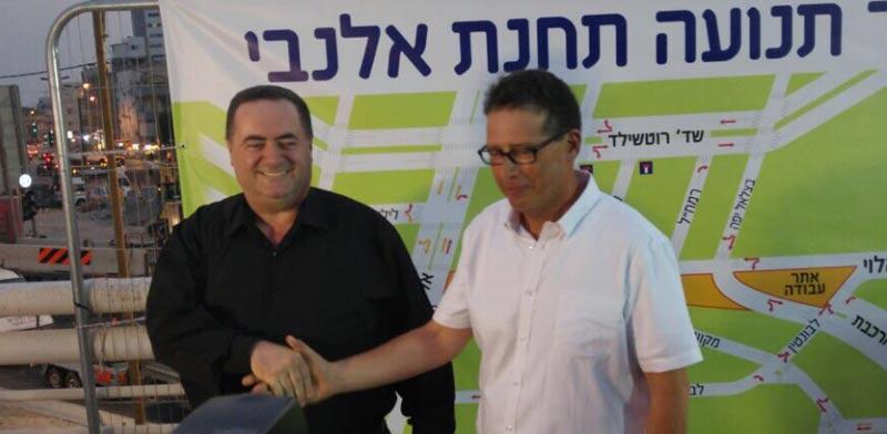 יהודה בר און וישראל כץ - תחילת עבודות הרכבת הקלה / צילום: יחצ