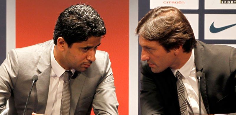 נאסר אל-חלאיפי נשיא פ.ס.ז' עם המנהל הספורטיבי לשעבר של המועדון לאונרדו / צלם: רויטרס