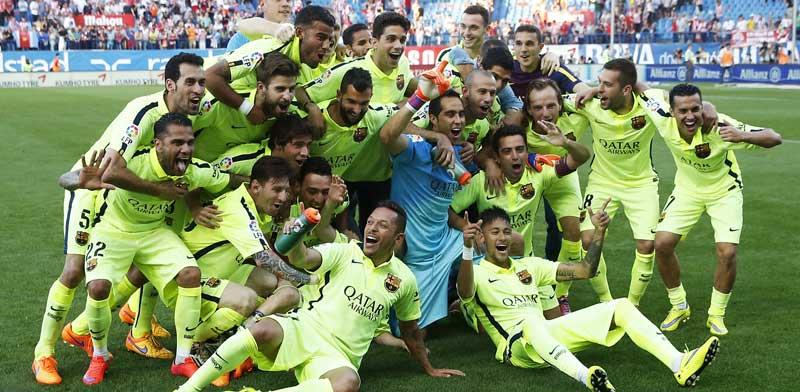 ברצלונה חוגגת זכייה באליפות 2015 / צלם: רויטרס