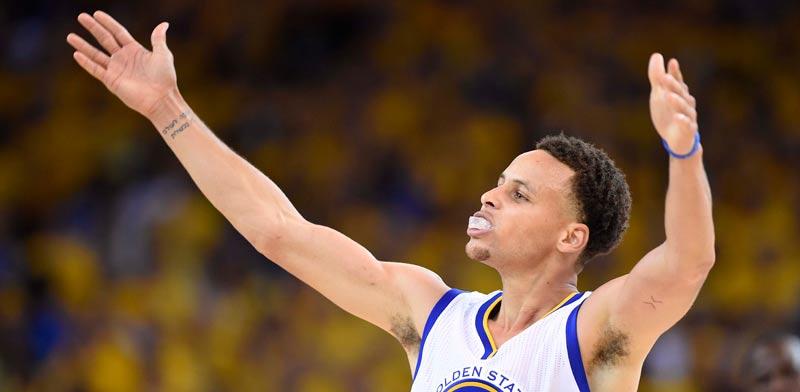 שחקן גולדן סטייט סטפן קארי במשחק 5 מול קליבלנד בגמר ה-NBA / צלם: רויטרס