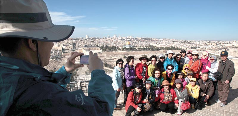 Korean tourists in Jerusalem Photo: Reuters