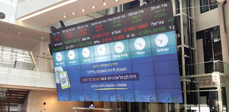מסך הבורסה לניירות ערך בתל–אביב לקראת הלילה הלבן / צילום: יחצ