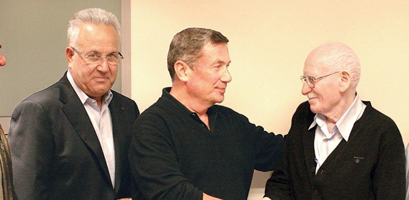 יצחק מנור משמאל , נוחי דנקנר ולבנת / צילום: יחצ