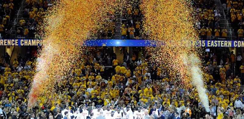 קליבלנד קאבלירס חוגגת עלייה לגמר ה-NBA / צילום: רויטרס