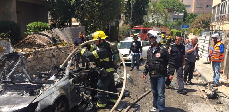 פיצוץ מכונית בגבעתיים / צילום: גלובס