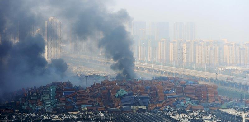 פיצוץ בטיינג'ין בסין / צילום: רויטרס