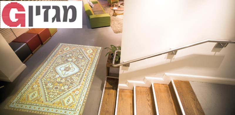 """עבודת הווידיאו """"שטיח"""" של נבט יצחק, במלון ארטפלוס / צילום: אריק סולטן"""