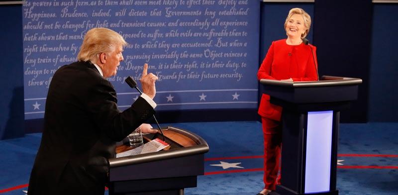 הילארי קלינטון ודונלד טראמפ בעימות הטלוויזיוני / צילום:רויטרס