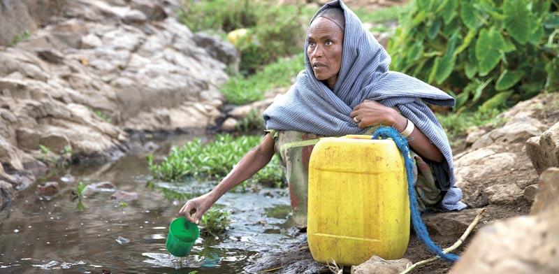 אישה אתיופית אוגרת מים / צילום: רויטרס