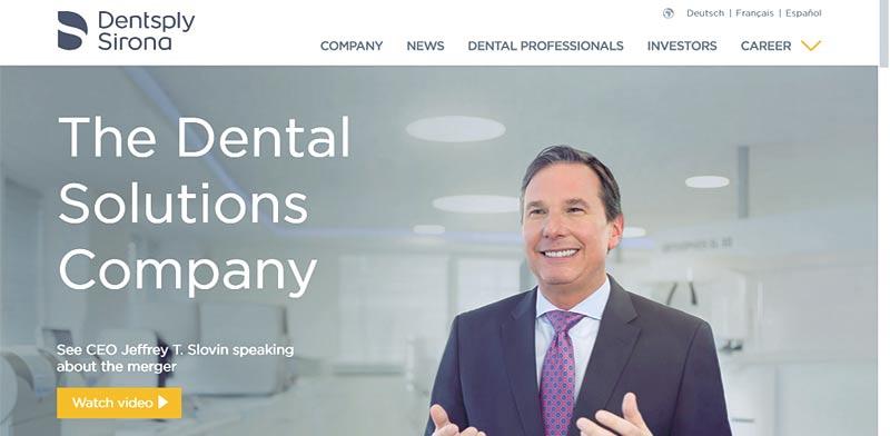 """האתר של Dentsply. חברת הציוד הדנטלי הגדולה בעולם / צילום: יח""""צ"""