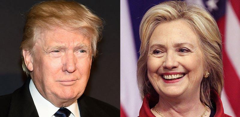 """דונלד טראמפ והילארי קלינטון, בחירות ארה""""ב / צילום: וידאו"""