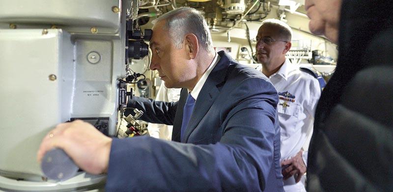 """נתניהו בצוללת / צילום: קובי גדעון - לע""""מ"""