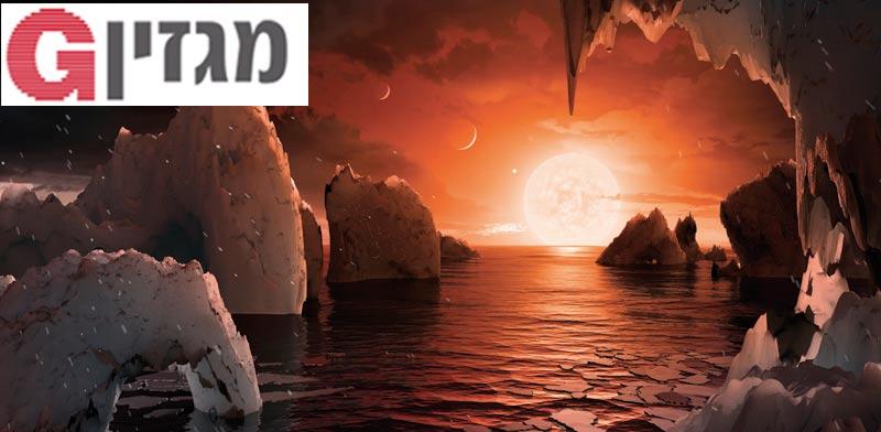 הדמיה של פני השטח התיאורטיים על כוכב הלכת TRAPPIST-1f / צילום: רויטרס
