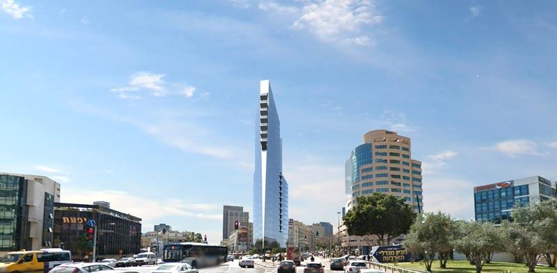 """מגדל """"שפך המסגר"""" בתל אביב - 25 קומות, 1 דונם. מסחר ציבורי משרדים מגורים. הדמיה: א-לייט"""