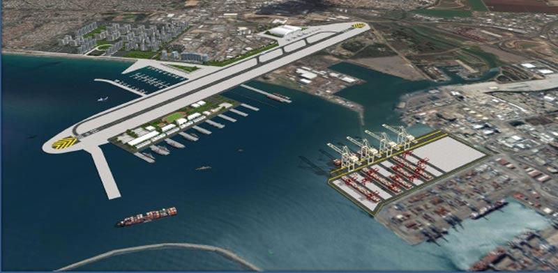 """הנמל המשודרג, הבסיס החדש, מסלול ההמראה, המרינה ושכונת המגורים בחוות תש""""ן / צילום: מיכה רטנר"""