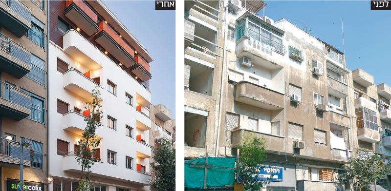 הבניין ברחוב הרצל בתל אביב  / צילום לפני: אדריכל דורון מינין  צילום אחרי: אייל תגר